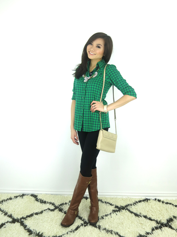 Green Plaid button down shirt brown leather boots statement necklace