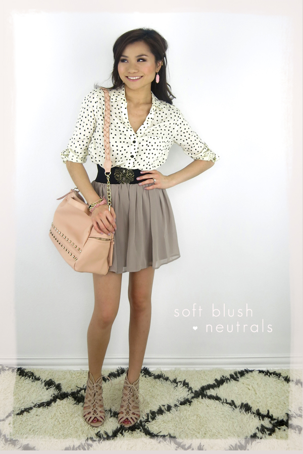 romantic blush and neutrals forever 21 polkadot blouse lauren conrad nude heels