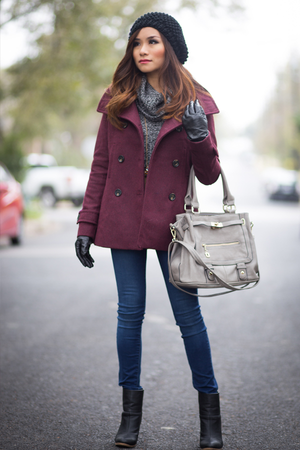 thread & supply burgundy peacoat target sweater 7 for all mankind gwenevere jeans tassel necklace black ankle boots popcorn beanie