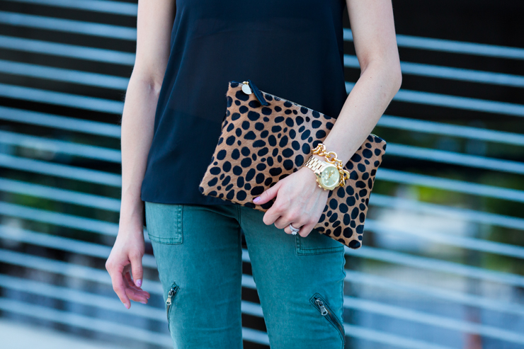 blank nyc military green cargo pants topshop v neck tank clare v leopard calfhair clutch