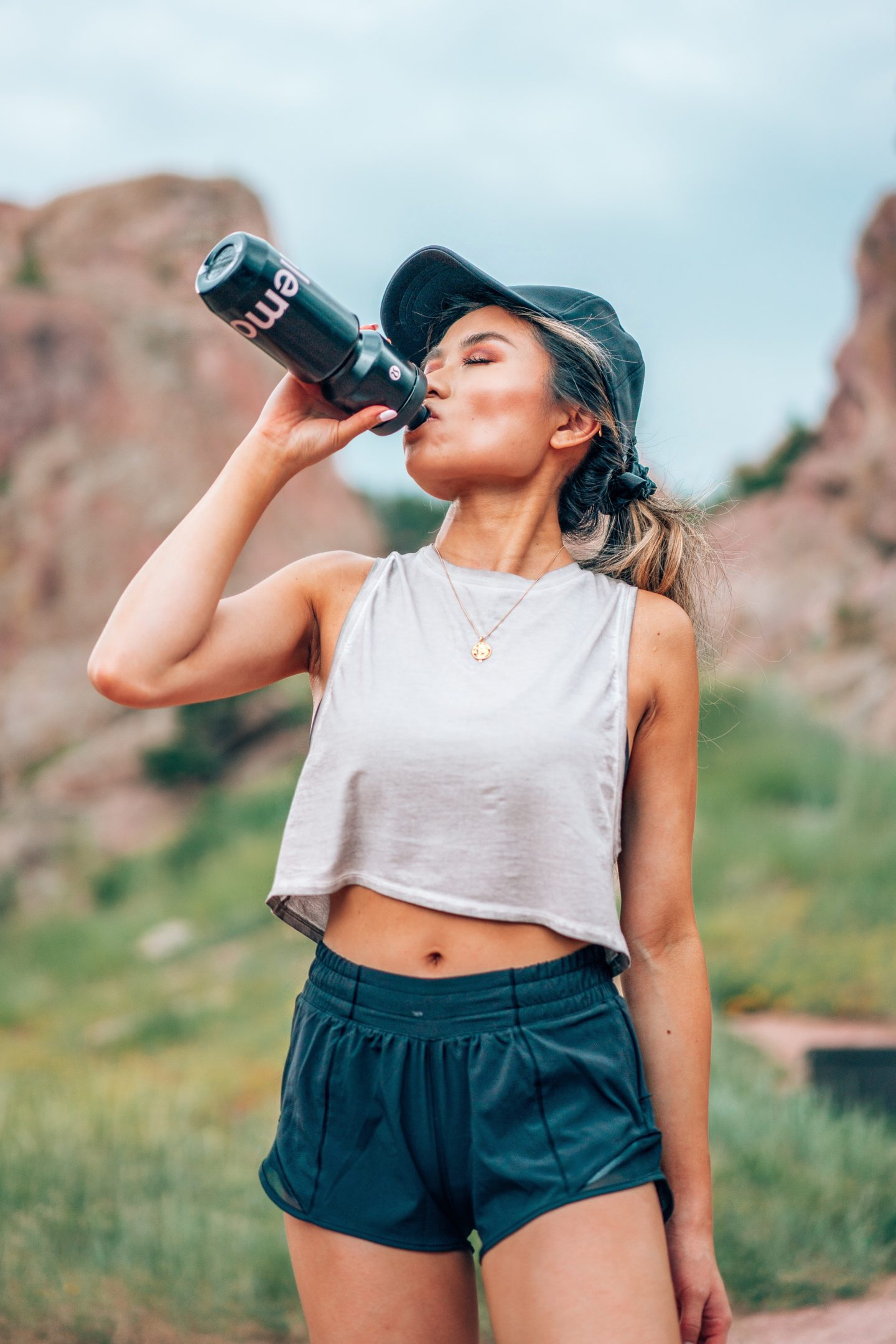 """lululemon hotty hot short II 2.5"""" muscle love crop tank up for it sports bra fashion blogger and youtuber miss louie"""
